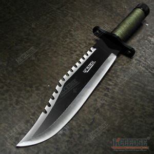 """13.25"""" Two Tone Blade Rambo Survival Hunting Knife with Survival Kit Bowie Knife"""