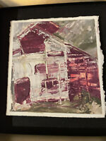 "Amy Sullivan Framed Oil on Paper 3x3"" ""Magenta"" Alexander County"