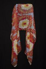 Magenta Tangerine Green Yellow White Baby Blue Flower Print Colorful Scarf S162