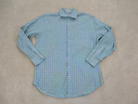 Peter Millar Button Up Shirt Adult Large Green Blue Plaid Cotton Casual Men B63
