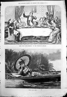 Old Our Domestics Play Vaudeville Theatre Lady Parasol Boat Fishing 1879 19th