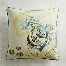 Pier 1 Imports Embroidered Pillow Deep Sea Fishes Aquatic Tropical 18 x 18 New