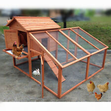 "US 74"" Chicken Coop Rabbit Hutch Poultry Cage Bunny Guinea Pig Ferret Hen House"