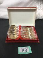 A VINTAGE 6 PIECE, ORNATE BRASS SIAM BUDHA TEASPOON SET, IN ORIGINAL BOX Unused