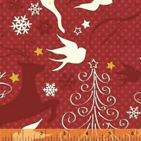 SPARKLE~WINDHAM FABRICS~BY 1/2 YD~WHITE DEER ON RED CHRISTMAS METALLIC`42377M-1