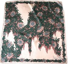 Richard Allan vintage silk scarf - Nude / Beige / Green Foliage- 1970s - Medium
