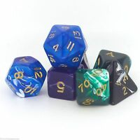Poly Dice sets for RPGs - Roleplayers 7 dice with SKULL DICE BAG