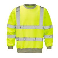 Mens Raiken Hi Vis Visibility Crew Neck Sweatshirt High Viz Work Jumper Top Size
