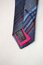 ETRO Designer SEIDEN Krawatte corbata TIE Tuch NEU brand NEW 127€ blau diagonal