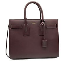 YSL SAINT LAURENT CLASSIC SAC DE JOUR CALF LEATHER TOTE BAG IN WINE MRSP:$2,890