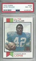 1973 Topps football card #448 Altie Taylor, Detroit Lions graded PSA 8