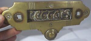Antique Victorian Arts & Crafts Brass Door Letter Box (Missing Knocker)