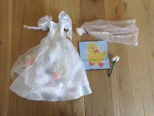 Barbie Doll Clothing WEDDING GOWN Veil Flower Bouquet White Pink Bride Dress