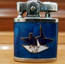 VINTAGE ROYAL STAR WORKING  MINI LIGHTER  WITH 2 FLYING BIRDS . BLUE
