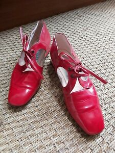 60s 70s Mod Vintage Red Patent Leather Lace Ups Low Heel Shoes 36 37