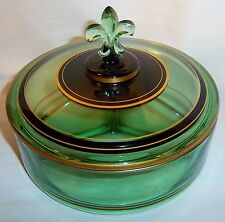 FOSTORIA EMERALD GREEN WITH GOLD 3 SECTION CANDY DISH WITH DECORATIVE LID