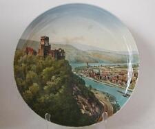 Large Antique Mettlach Wall Plate/Plaque #1044/195 PUG  Lahneck Castle c.1900