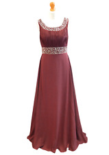 Long Chiffon Bridesmaid Formal Gown Ball Evening Prom Party Dress Size 8 -24 Burgundy 14