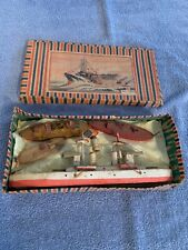 Vtg Wooden Great Navy Toy Boat X 4 Made in Japan w/ Original Box marked K