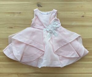 NWOT JANIE AND JACK Special Occasion Pink Flower Dress Size 6-12 Months