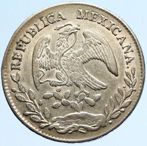 1877 Do CP MEXICO Large Eagle Sun Antique Mexican Silver 8 Reales Coin i97096