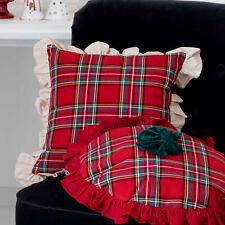Cuscino Arredo Quadrato Natale Shabby Chic Tartan 50x50 Colore Rosso / Crema Chi