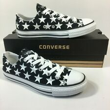 Size UK 3 Boys Girls Converse All Star BIG STARS Black White Trainers Shoes
