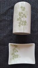 Clover Leaf design Ceramic soap dish + Tooth brush holder