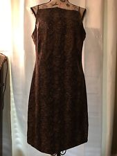 Brown & Amber Animal Print W Amber Sequins Cocktail Dress, Size 12 by CDC.
