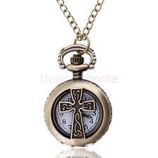 MagiDeal Vintage Cross Pocket Watch Necklace Quartz Steampunk Pendant Chain
