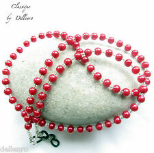 Classique. Rojo Collar Con Cuentas De Vidrio Perlado Gafas Gafas Soporte de cadena