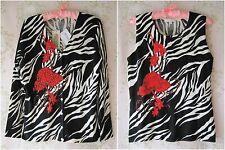 Rare! IMAGINI Floral Sequin Bead Zebra Animal Print Vest Top Cardigan Twinset L