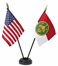 "BOY SCOUT  OFFICIAL COLLECTORS DESK AMERICAN BSA FLAG SET w STAND 4""X6"" USA MADE"