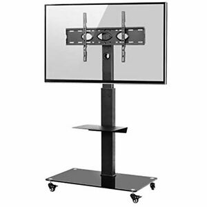 RFIVER Mobile Tall TV Stand on Wheels for 32-65 inch with Brackets Mount Rolling