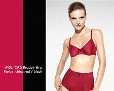 WOLFORD Boudoir Bra • 75B • china red / black • ...raffiniert eleganter Satin-BH