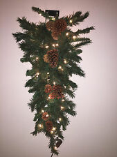 """40693C 36"""" Mixed River Pine Cone 35 Lights Wall Mount Christmas Tree Space Saver"""