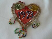 Vintage Beaded Whimsey Beadwork-Heart Shaped-Dated 1923-Near Perfect