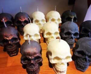1 X Skull Candle Handmade Colours White Grey Metallic Gift Big Eco Soy Wax