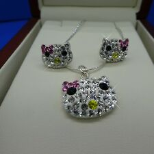 Hello Kitty Sterling Silver .925 Necklace,Earrings Set With Swarovski Elements