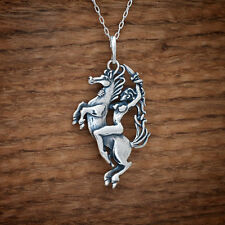 Handcast 925 Sterling Silver Celtic Epona Horse Pendant + FREE Cable Chain