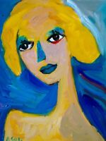 "Original Art Portrait Oil Painting on Stretched Canvas 14"" x 11"""