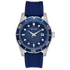 Bulova Men's 98B341 Quartz Blue Dial Blue Silicone Strap 43mm Watch
