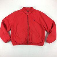 Vintage 80s 90s Ralph Lauren Polo Fleece Lined Coat / Jacket Mens Large L Red