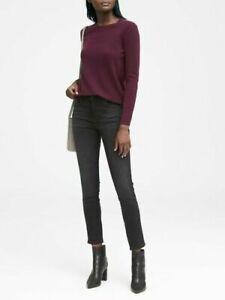 NEW Banana Republic Merino Wool Bld Crewneck Sweater Burgundy Black Womens XS S