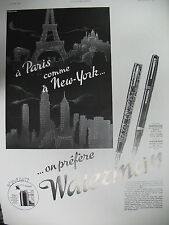 PUBLICITE DE PRESSE WATERMAN STYLO-PLUME EXPO NEW-YORK FRENCH AD 1939