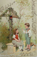 """ Children, cross "" 1904, Embossed Postcard (13197)"