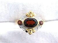 10Kt REAL Yellow Gold Garnet Diamond Gemstone Gem Stone Ladies Ring Size 6.25