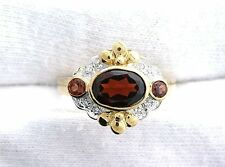10Kt REAL Yellow Gold Garnet Diamond Gemstone Gem Stone Ladies Ring Size 6.25