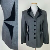 VTG 90s does 40s ESCADA Margaretha Ley Charcoal Wool Blazer 38 / 6 Black Velvet