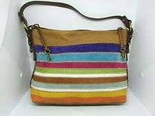 FOSSIL Leather Suede Patch Stripe HOBO Handbag, Purse